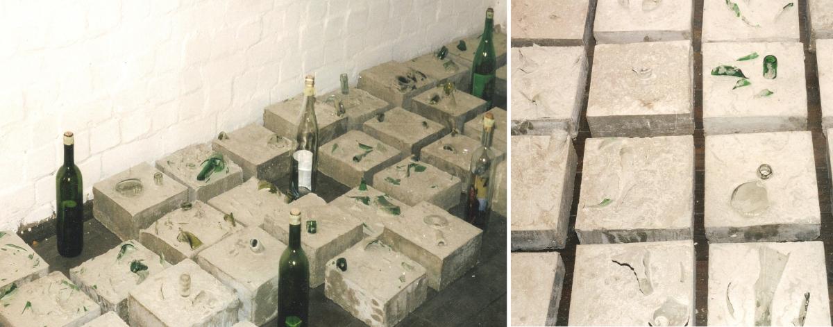 Diese Aufnahmen stammen aus dem ehemaligen Atelier von Steve Meyer, ein Teil des Dachbodens seines Wohnhauses in Hamburg. Leider gibt es keine Fotos von der Installation der Betonblöcke während der Ausstellung im Museum für Kommunikation. Diese Fotos geben zumindest einen Eindruck der Anordnung der Betonblöcke.
