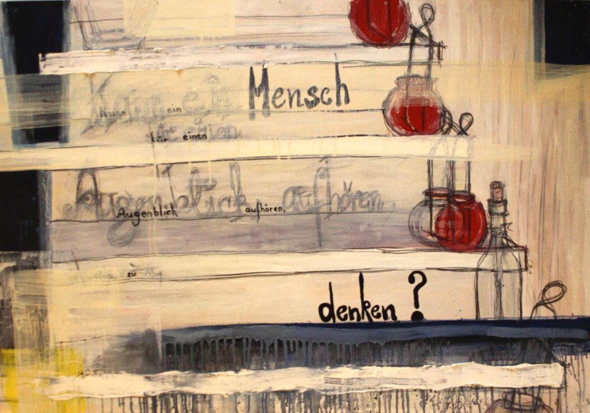 Flaschenpost Nr.: 24 / 01.07.00 / Glasgalerie Mühlenkamp / Kann ein Mensch für einen Augenblick aufhören, etwas zu denken?