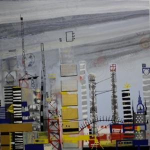 Ohne Titel, Lack, s/w Kopien, Heißkleber auf MDF, 100 cm x 100 cm, (Privatbesitz)