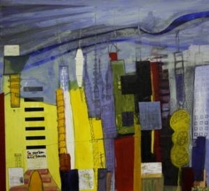 Ohne Titel, Öl/gefundene Zettel/Bleistift auf Leinwand, 95 cm x 140 cm, Preis auf Anfrage