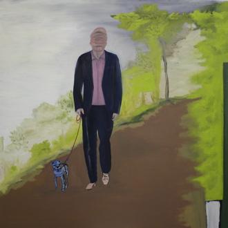 """""""Spaziergang mit Hund"""", Öl auf Leinwand, 100 cm x 100 cm, Preis auf Anfrage"""