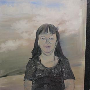 """""""Ute"""" (unvollendet), Öl auf Leinwand, 90 cm x 90 cm, zerstört"""