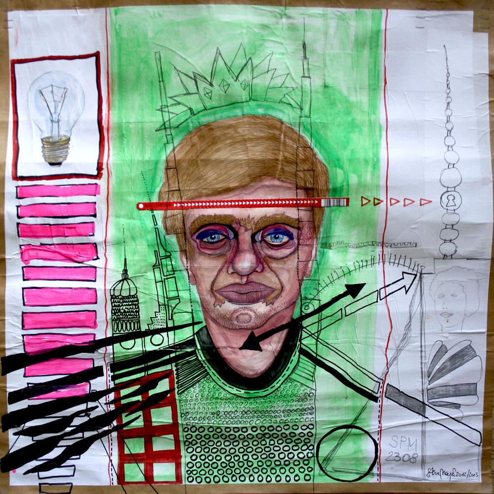 """""""Glühbirne"""", Mischtechnik auf verleimtem Papier, 70 cm x 70 cm, Preis auf Anfrage"""