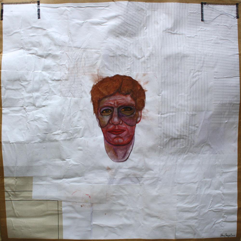 """""""Männerkopf"""", Mischtechnik auf verleimtem Papier, 70 cm x 70 cm, Preis auf Anfrage"""