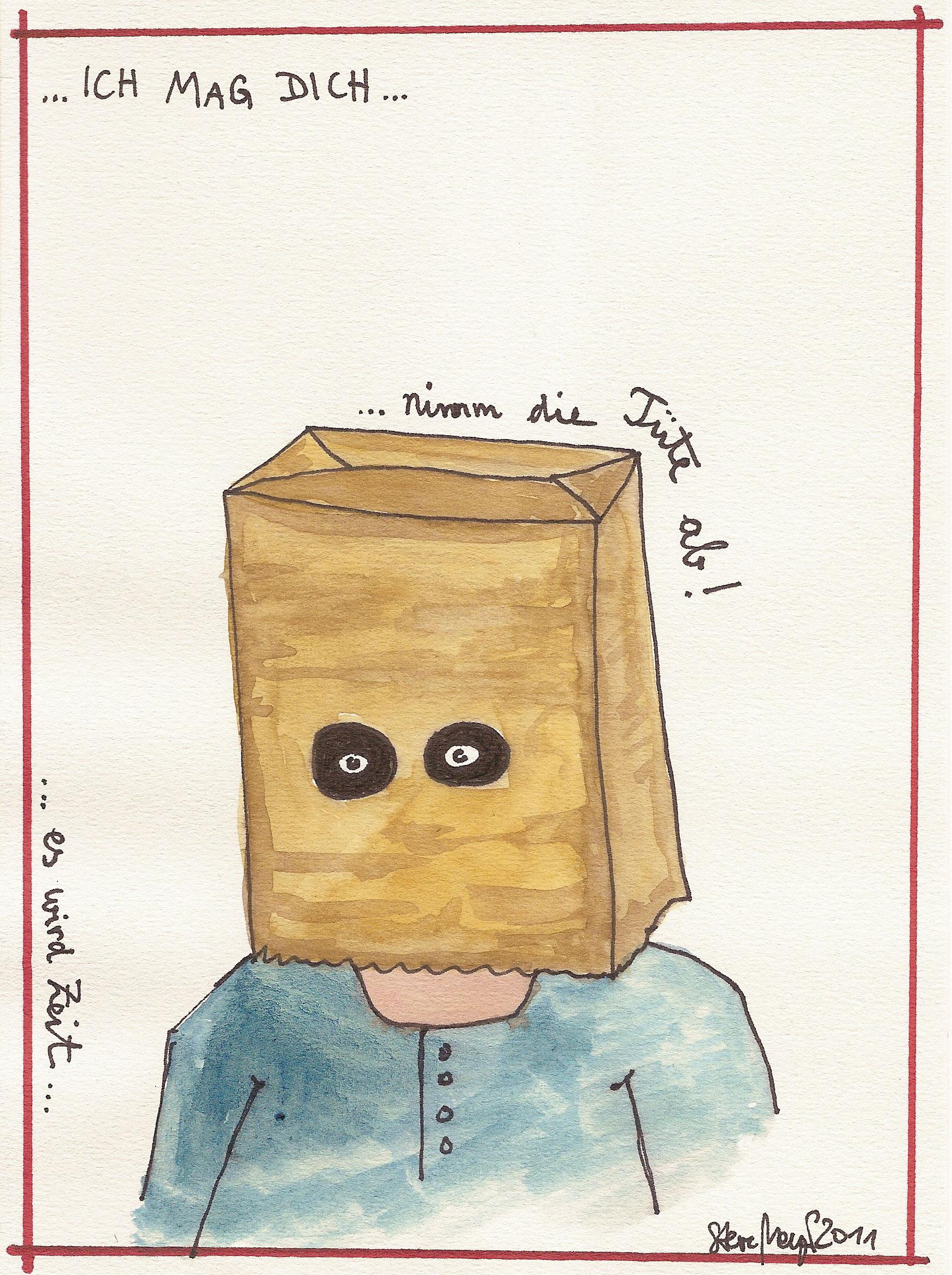 Ohne Titel, Mischtechnik auf Papier, ca. 20 cm x 15 cm, (Privatbesitz)