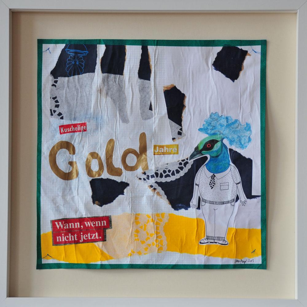 """""""Gold"""", Mischtechnik auf verleimtem Papier auf Pappe genäht, 50 cm x 50 cm, gerahmt und signiert, Preis: 490.- Euro"""
