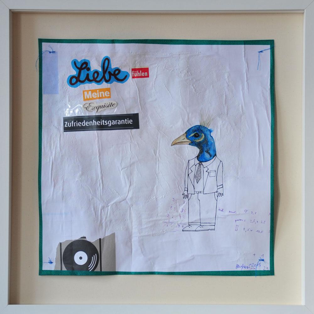 """""""Liebe fühlen"""", Mischtechnik auf verleimtem Papier auf Pappe genäht, 50 cm x 50 cm, gerahmt und signiert, Preis: 490.- Euro"""