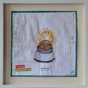 Ohne Titel, Mischtechnik auf verleimtem Papier auf Pappe genäht, 50 cm x 50 cm, gerahmt und signiert, Preis: 330.- €