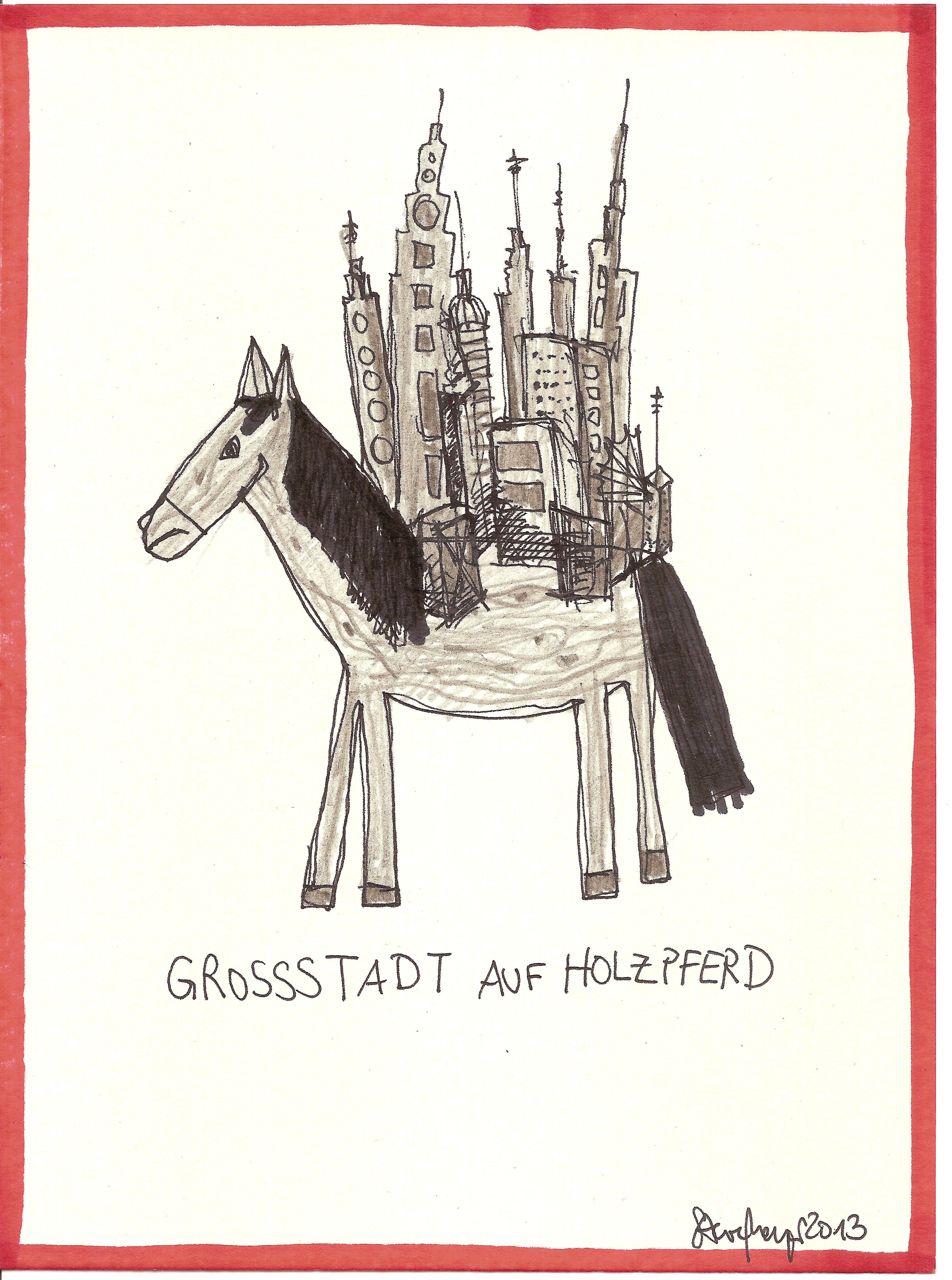 """""""Großstadt auf Holzpferd"""", Mischtechnik auf Papier, ca. 20 cm x 15 cm, Preis auf Anfrage"""