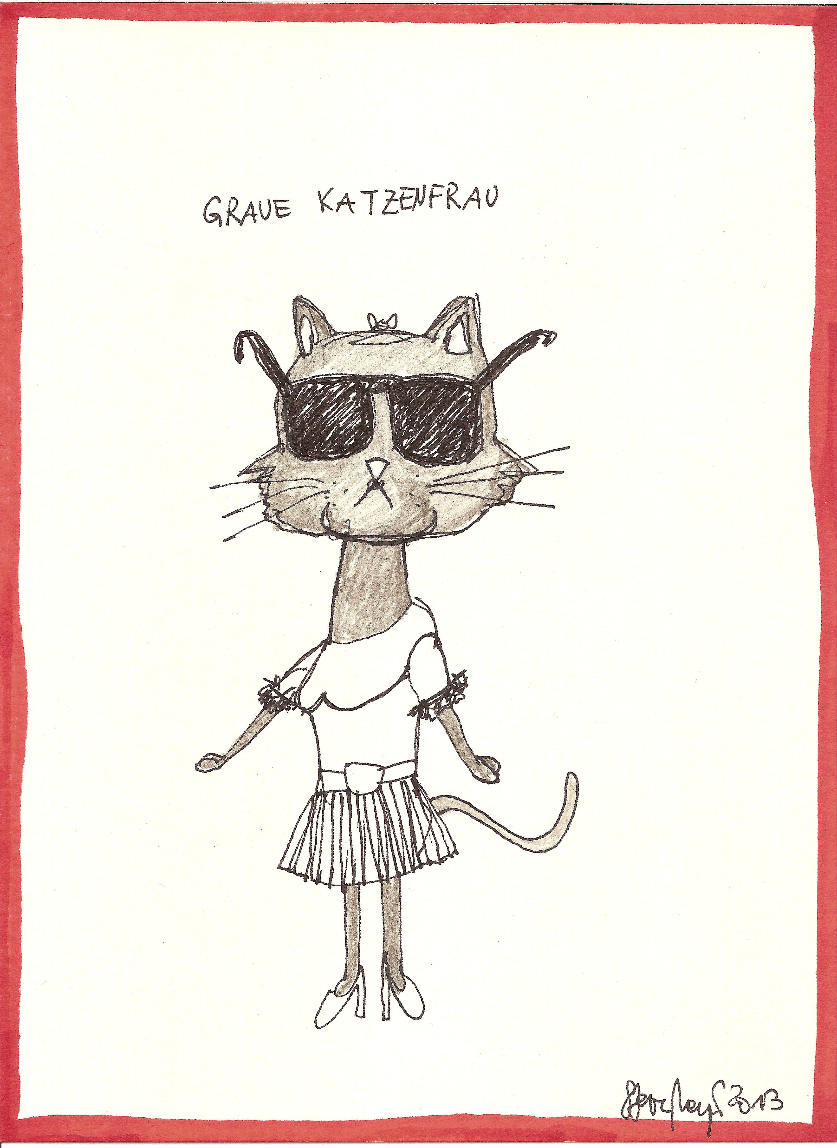 """""""Graue Katzenfrau"""", Mischtechnik auf Papier, ca. 20 cm x 15 cm, Privatbesitz"""