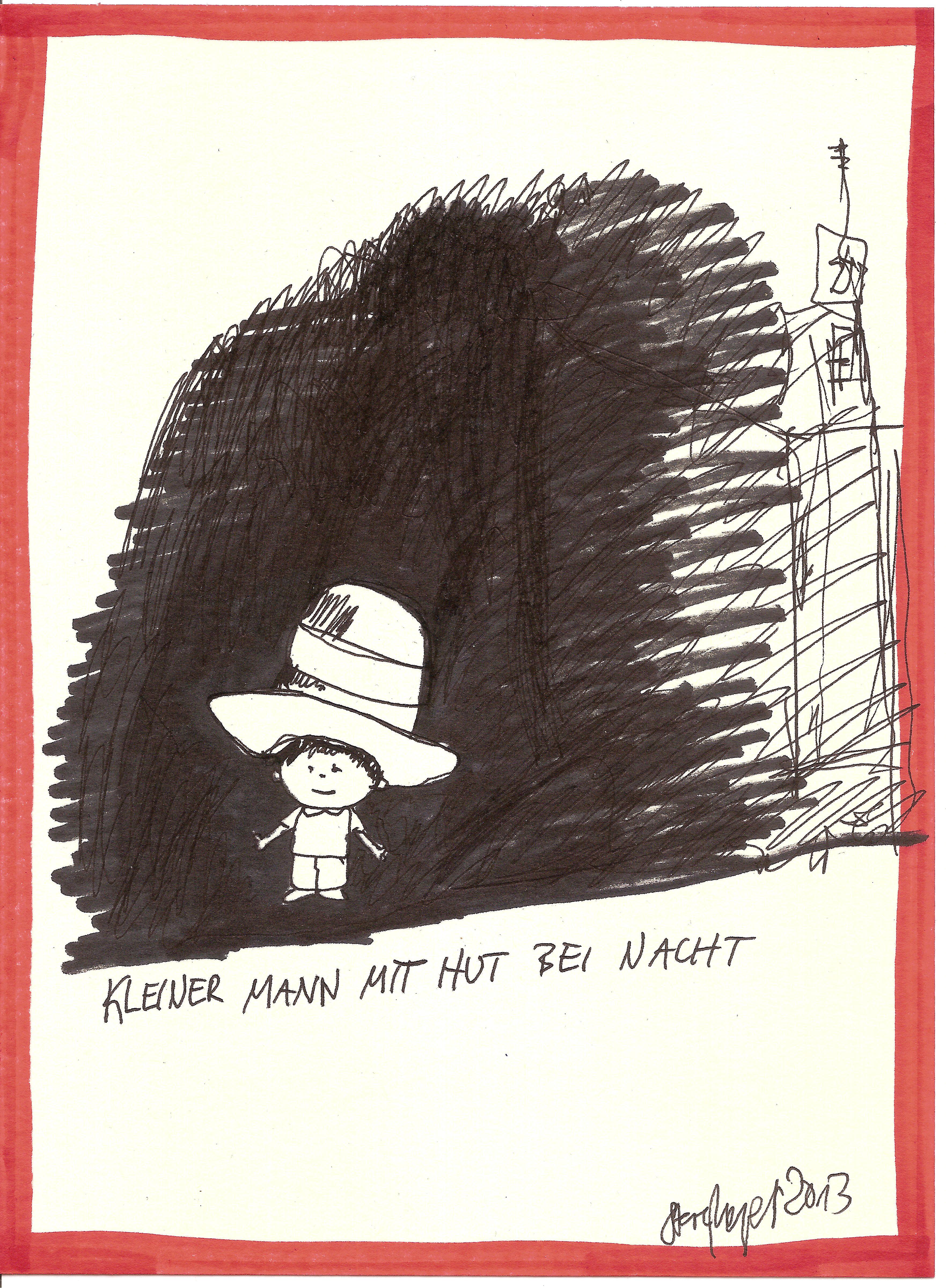 """""""Kleiner Mann mit Hut"""", Mischtechnik auf Papier, ca. 20 cm x 15 cm, Preis auf Anfrage"""