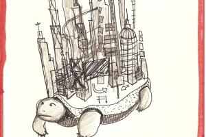 Steve Meyer, Zeichnung 2013, Stadtschildkröte