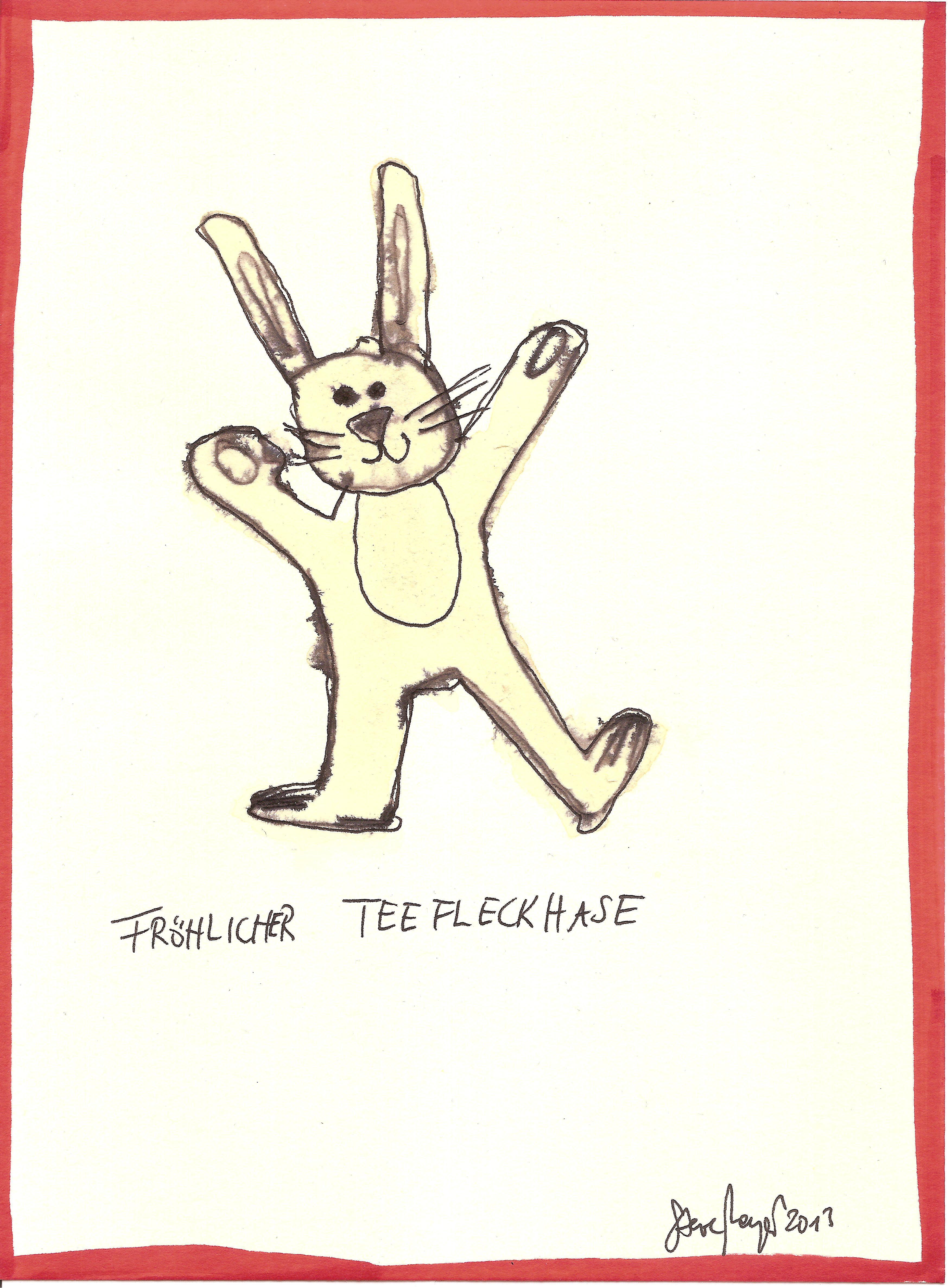 """""""Teefleckhase"""", Mischtechnik auf Papier, ca. 20 cm x 15 cm, Privatbesitz"""