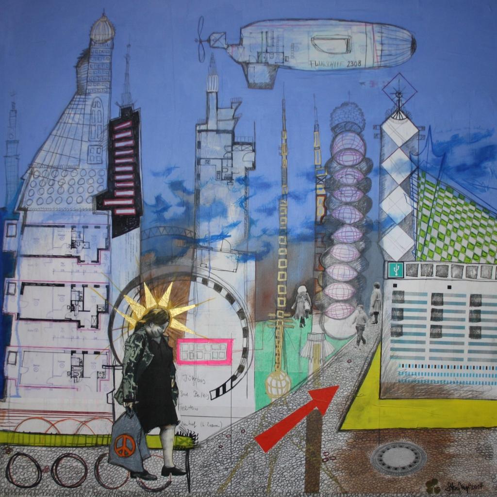 """Stadtbild1-Q80-14, Mischtechnik auf Hartfaser/Holz, 80 cm x 80 cm, 2014, gerahmt, Kaufen oder Leihen über """"Die Artothek"""" - Link: https://www.dieartothek.de/?p=artist&artist=Steve%20Meyer - Werksnr. 00532, Preis 1700.- Euro"""
