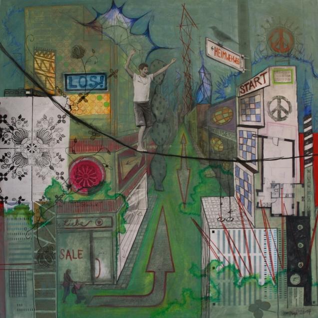 Stadtbild2-Q80-14, Mischtechnik auf Hartfaser/Holz, 80 cm x 80 cm, 2014, Preis auf Anfrage