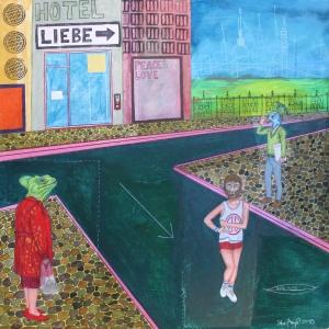 """""""Hotel Liebe - Wegen Krankheit geschlossen"""", Mischtechnik auf Holz, 60 cm x 60 cm, 2015, gerahmt / Schattenfuge Linde natur / Gesamtgröße: 64 cm x 64 cm, Preis auf Anfrage"""