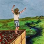 """""""Vogeljunge auf Hoteldach"""", Mischtechnik auf Holz, 40 cm x 40 cm, 2015, gerahmt / Schattenfuge Linde natur / Gesamtgröße: 44 cm x 44 cm, Preis auf Anfrage"""
