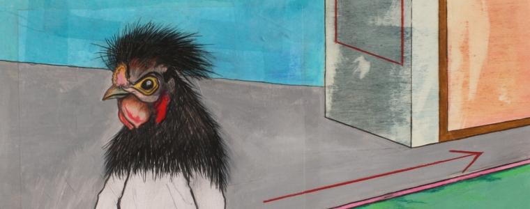"""""""Vogelmann unterwegs"""", Mischtechnik auf Holz, 40 cm x 40 cm, 2015, gerahmt / Schattenfuge Linde natur / Gesamtgröße: 44 cm x 44 cm, Preis auf Anfrage"""