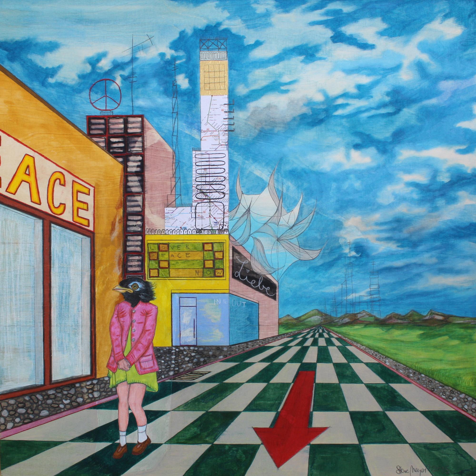 """""""Vogelmädchen allein am Stadtrand"""", Mischtechnik auf Holz, 60 cm x 60 cm, 2015, gerahmt / Schattenfuge Linde natur / Gesamtgröße: 64 cm x 64 cm, Preis: 1100.- Euro"""