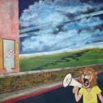 """""""Wir tanzen und schreien, schreien und tanzen!"""", Mischtechnik auf Holz, 100 cm x 100 cm, 2015, gerahmt / Schattenfuge Linde natur / Gesamtgröße: 104 cm x 104 cm, Preis auf Anfrage"""