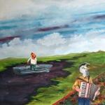 """""""Der Liedermacher und sein Akkordeon"""", Mischtechnik auf Holz, 60 cm x 60 cm, 2015, gerahmt / Schattenfuge Linde natur / Gesamtgröße: 64 cm x 64 cm, Preis auf Anfrage"""
