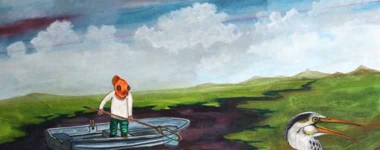 """""""Der Liedermacher und sein Akkordeon"""", Mischtechnik auf Holz, 60 cm x 60 cm, 2015, gerahmt / Schattenfuge Linde natur / Gesamtgröße: 64 cm x 64 cm, Preis: 1100.- Euro"""