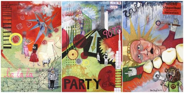 """""""La La La, Party, Peace"""", Mischtechnik auf Leinwand, Triptychon 3 x 120 cm x 80 cm, 2015"""