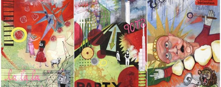 """""""La La La, Party, Peace"""", Mischtechnik auf Leinwand, Triptychon 3 x 120 cm x 80 cm, 2015, Privatbesitz"""