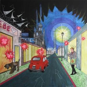 """""""Nachts vor dem Hotel Panama"""", Mischtechnik auf Hartfaser / Holz, 80 cm x 80 cm, 2015, gerahmt / Schattenfuge Linde natur / Gesamtgröße 84,5 cm x 84,5 cm, Preis auf Anfrage"""