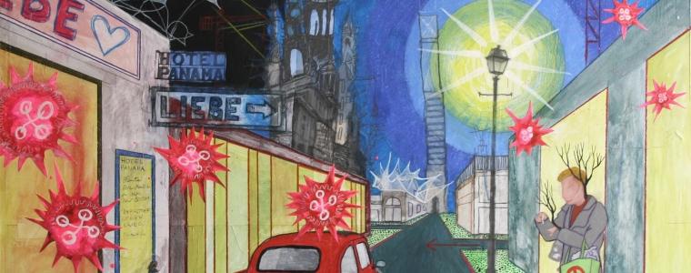 """""""Nachts vor dem Hotel Panama"""", Mischtechnik auf Hartfaser / Holz, 80 cm x 80 cm, 2015, gerahmt / Schattenfuge Linde natur / Gesamtgröße 84,5 cm x 84,5 cm, Preis: 2600.- Euro"""