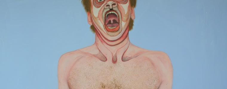 """""""Schreiender Federmann"""" (Ausschnitt), Öl auf Holz, 220 cm x 100 cm, 2017"""