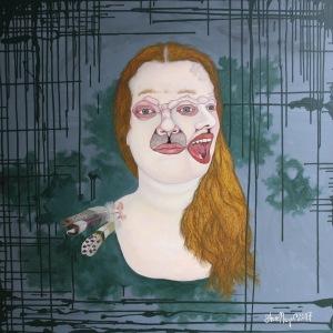 """""""Frau Sophia Federschön"""", Öl auf Holz, 100 cm x 100 cm, 2017"""