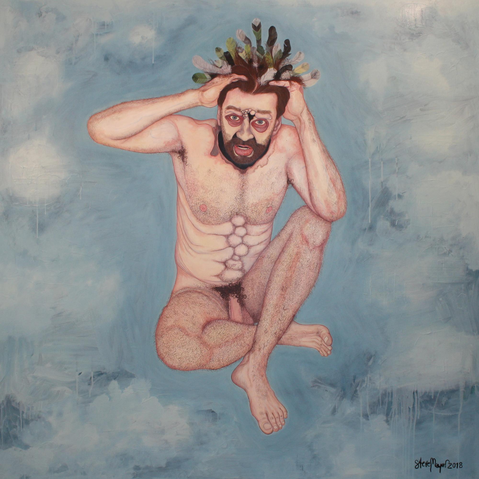 """""""Herr von Federhaar"""", Öl auf Holz, 150 cm x 150 cm, 2018, Preis auf Anfrage"""