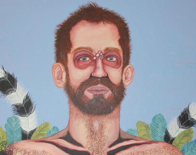 """""""Herr Gregor Federkranz"""" (Ausschnitt 3), Öl auf Leinwand, 180 cm x 135 cm, 2018, Preis auf Anfrage"""
