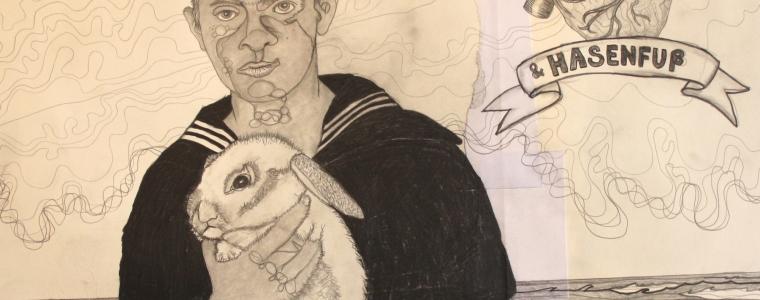 """""""Nichtschwimmer und Hasenfuß"""", Bleistift auf Papier, 50 cm x 50 cm, gerahmt, 2020, Preis auf Anfrage"""