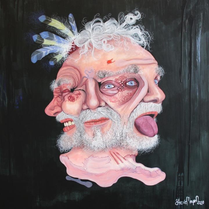 """""""Prof. Dr. J. F. Federpunk"""", Öl auf Leinwand, 100 cm x 100 cm, 2020, Preis auf Anfrage"""
