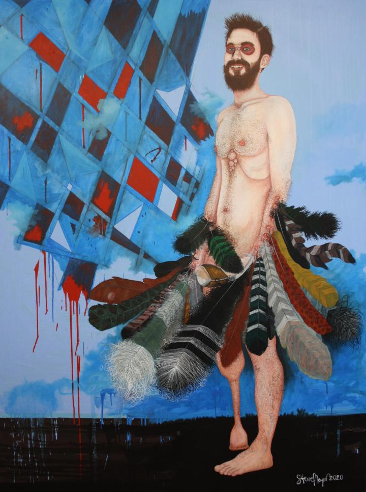 """""""Herr Christopher van Flügelbundt Junior"""", Öl auf Leinwand, 180 cm x 135 cm, 2020, (Preis auf Anfrage)"""