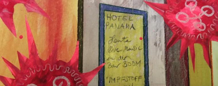 """""""Nachts vor dem Hotel Panama"""" (Ausschnitt), Mischtechnik auf Hartfaser / Holz, 80 cm x 80 cm, 2015, gerahmt / Schattenfuge Linde natur / Gesamtgröße 84,5 cm x 84,5 cm"""