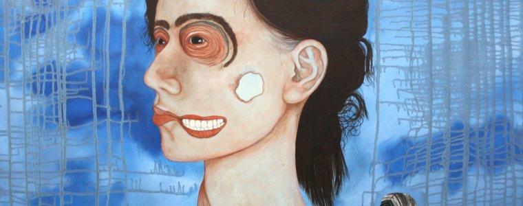 """Frau Barbara Vollmundt a. D."", Öl auf Holz, 80 cm x 80 cm, 2020, Preis: 3700.- Euro"