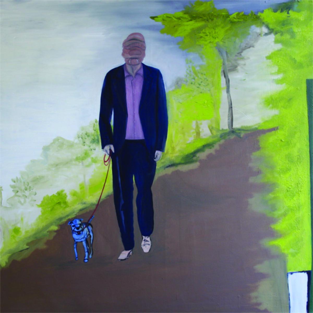 """Spaziergang mit Hund"", Öl auf Leinwand, 100 cm x 100 cm, Preis: 2800.- Euro"