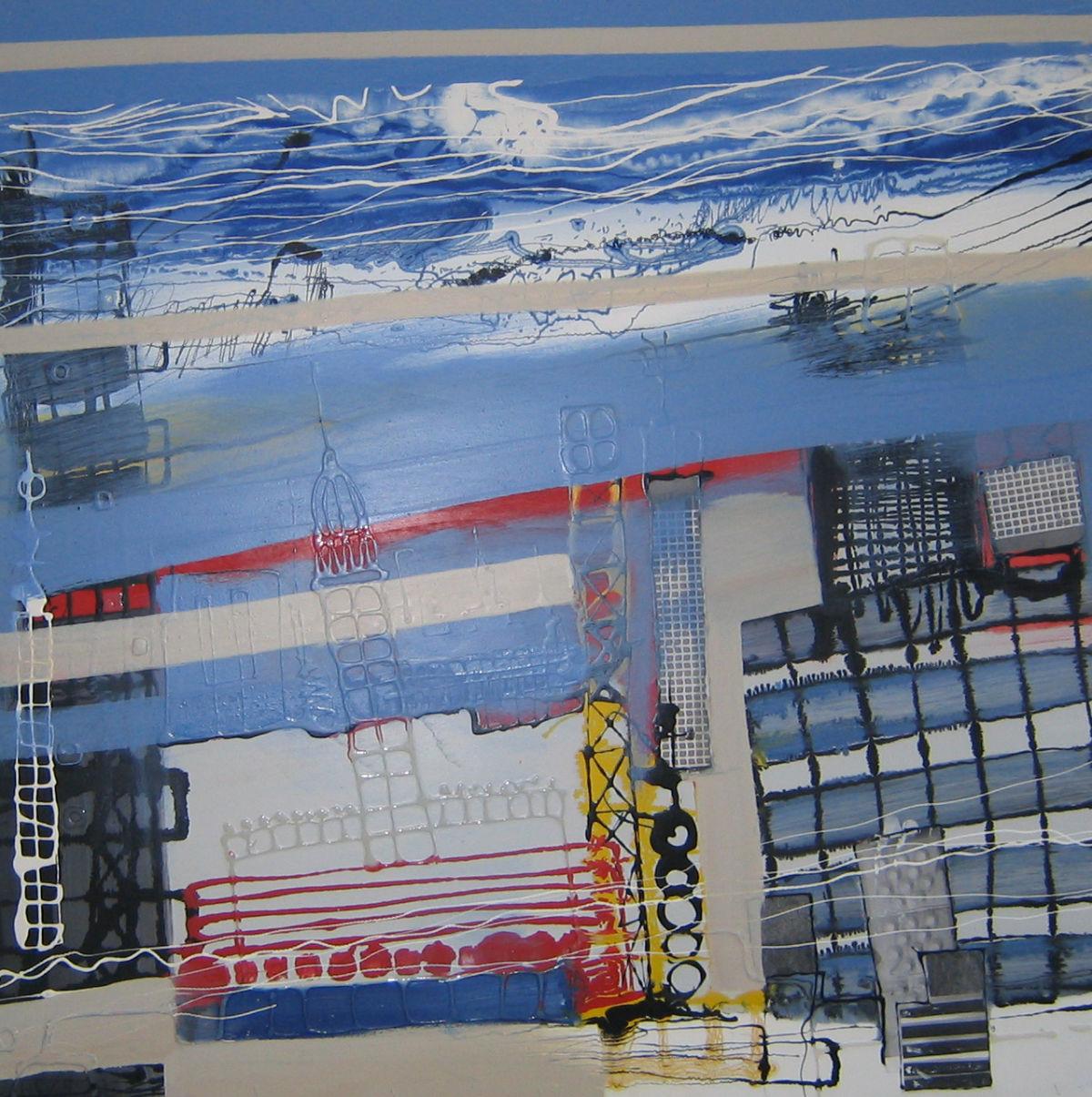 Ohne Titel, Lack, s/w Kopien, Heißkleber auf Holz, 100 cm x 100 cm, Preis: 3200.- Euro