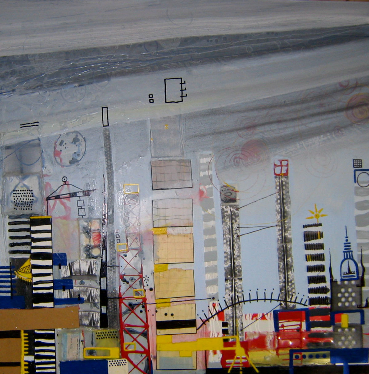 Ohne Titel, Lack, s/w Kopien, Heißkleber auf MDF, 100 cm x 100 cm, Privatbesitz