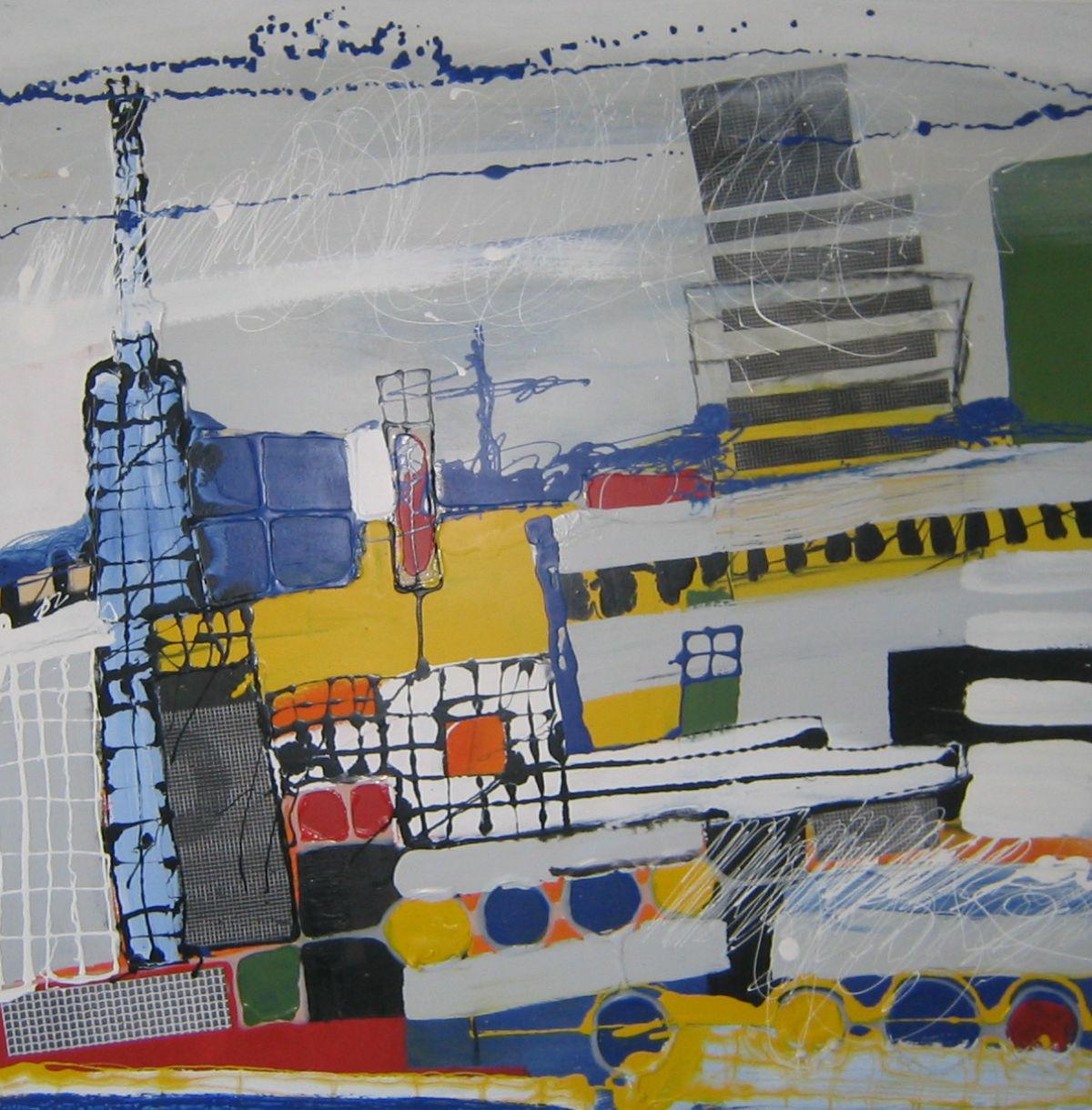 Ohne Titel, Lack, Heißkleber auf Holz, 100 cm x 100 cm, Privatbesitz